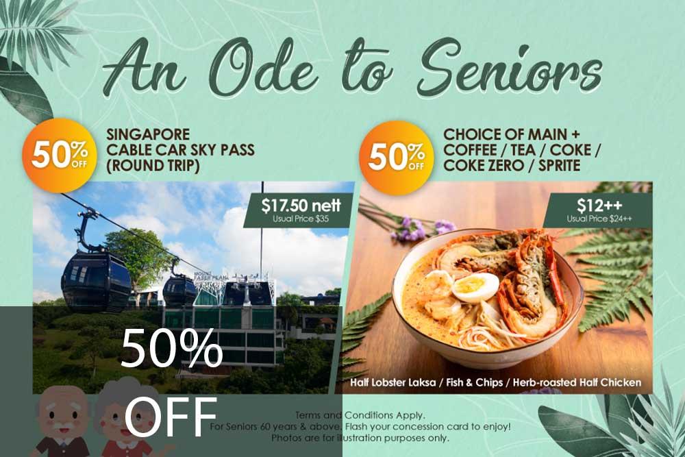 Senior Special: 50% off Singapore Cable Car and Arbora set meal
