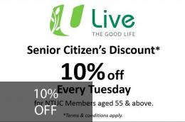 Senior Citizens' Discount*: 10% Off Every Tuesday