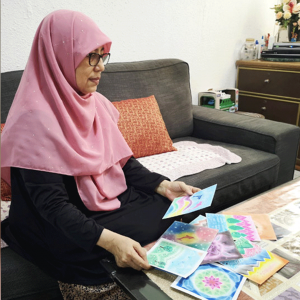 For the love of family… In a bid to bond with her grandchildren through art, Noriah Binte Abdul Majid recently took up online art classes and completed an array of paintings and drawings.